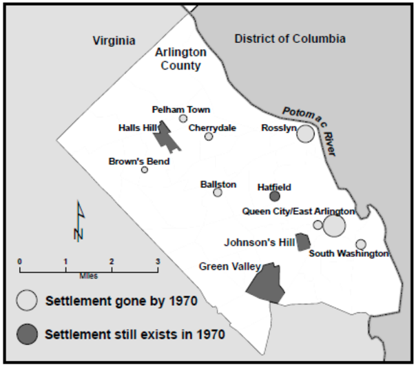 Map of Arlington County showing black settlements up to 1970. Settlements gone by 1970 are: Pelham Town, Cherrydale, Rosslyn, Brown's Bend, Ballston, Queen City/East Arlington, and South Washington. Settlements still in existence in 1970 are: Halls Hill, Hatfield, Johnson's Hill, and Green Valley.